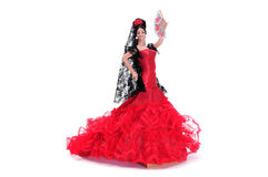 Flamenca doll. A typical spanish doll dressed as a flamenca isolated on a white background Royalty Free Stock Image