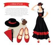 Flamenco εξοπλισμός και χορευτής γυναικών Στοκ φωτογραφία με δικαίωμα ελεύθερης χρήσης