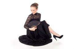 Flamenco το κορίτσι χορευτών με ένα κόκκινο αυξήθηκε Στοκ εικόνα με δικαίωμα ελεύθερης χρήσης