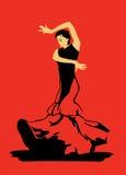 Flamenco χορός στο κόκκινο υπόβαθρο Στοκ εικόνες με δικαίωμα ελεύθερης χρήσης