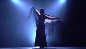 flamenco Женщина танцует с manton в руках испанского зажигательного танца Llight от позади Дым акции видеоматериалы