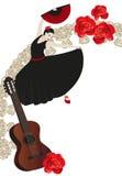 Flamenco. Illustration of a flamenco dancer holding a spanish fan royalty free illustration
