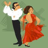 Flamenco. Dancing couple, passionate flamenco, green background Royalty Free Stock Image