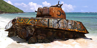Flamenco Beach Army Tank. The old rusted and deserted US army tank of Flamenco beach on the Puerto Rican island of Culebra Royalty Free Stock Photo