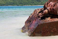 Flamenco Beach Army Tank. Close up of the old rusted and deserted US Army tank of Flamenco beach on the Puerto Rican island of Culebra Royalty Free Stock Photography