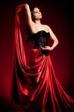 Flamenco Carmen beautiful woman. In dress on dark background Royalty Free Stock Images