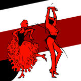 Flamenco couple dancer, hand draw silhouette Royalty Free Stock Image