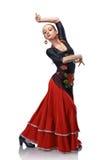 Flamenco da dança da mulher isolado no branco Imagens de Stock