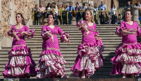 Women Dancing at Flamenco Fiesta in Spain Stock Image