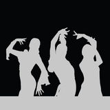 Flamenco dance girl silhouette on black Stock Photos