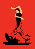 Flamenco dance on red background Royalty Free Stock Images
