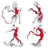 Flamenco dance sketches. Flamenco dance elements. Dancer figure sketch. Flamenco Dance inscription royalty free illustration
