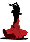 Flamenco dance on white background Royalty Free Stock Photography