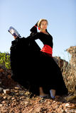 Flamenco dancer. Beautiful girl dances flamenco in outdoor Stock Photography