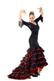 Flamenco dancer. Portrait of young beautiful flamenco dancer. Isolated over white background Royalty Free Stock Photos