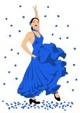 Flamenco dancer. Sexy woman dancing spanish flamenco, in blue dress Stock Images