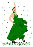 Flamenco dancer. Sexy woman dancing spanish flamenco, in green dotted dress Stock Photography