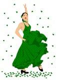 Flamenco dancer. Sexy woman dancing spanish flamenco, in green dotted dress Stock Photography