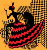 Flamenco dancer. On yellow bacground is an abstract black-red silhouette flamenco dancer royalty free illustration