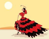 Flamenco dancer. An illustration of a spanish flamenco dancer in a beautiful polka dot red and black dress under a hot spanish sky vector illustration