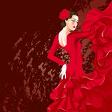 Flamenco dancer. In red dress Stock Photography