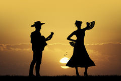 Flamenco dancer anf guitarist Royalty Free Stock Image