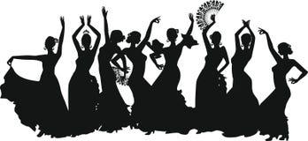 Flamenco dancer. Black silhouettes of female flamenco dancer royalty free illustration