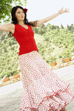 Flamenco Dancer Dancing Outdoors Royalty Free Stock Images