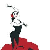 Flamenco Dancer in expressive impressive pose. Minimalistic laconic. Flamenco Dancer in expressive impressive pose. Minimalistic graphic in laconic edged Stock Photo