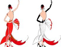 Flamenco dancer with fan Royalty Free Stock Photos