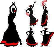 Flamenco dancer. Five silhouettes of flamenco dancer Stock Images