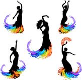 Flamenco dancer. Five silhouettes of flamenco dancer Royalty Free Stock Image