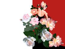 Free Flamenco Dancer Girl, Dressed In Black Dress, With Fan In Her Hand And And Huge Bouquet Of Rose Flowers. Wedding Invitation. Royalty Free Stock Images - 159727379
