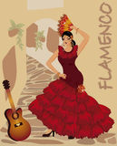 Flamenco dancer girl with fan and guitar Stock Image