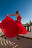 Flamenco dancer leaping Stock Photos