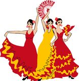 Flamenco dancer. Over Spanish Flag Background royalty free illustration