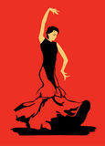 Flamenco dancer on red background. The stylized image of flamenco dancer on red background Stock Photo