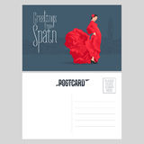 Flamenco dancer in red dress in visit Spain concept vector postcard template Stock Photography