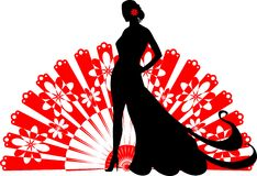 Flamenco dancer on a red fan Royalty Free Stock Image