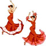 Flamenco dancer set Royalty Free Stock Photography