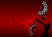 Flamenco dancer, sexy silhouette beautiful Spanish woman with folding fans polka dots decoration in spectacular pose. Illustration red blurred background Royalty Free Stock Photo