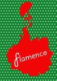 Flamenco dancer, silhouette beautiful Spanish woman in long dress with fan Royalty Free Stock Image