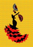 Flamenco dancer, silhouette beautiful Spanish woman in long dress with fan,  isolated or polka dot background Stock Photos