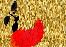 Flamenco dancer, silhouette beautiful Spanish woman in long red dress with fan. Isolated or gold background Royalty Free Stock Photo