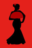 Flamenco dancer silhouette with fan Stock Images