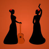 Flamenco dancer silhouettes Stock Photos