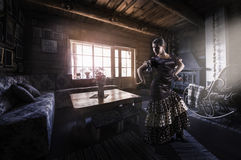 Flamenco dancer silhoutte indoors, rural interior Stock Images