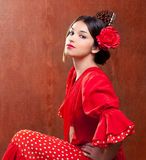 Flamenco dancer Spain woman gipsy with red rose. And spanish peineta comb Royalty Free Stock Photography