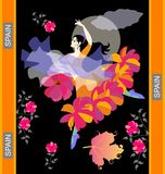 Flamenco dancer in Spanish national dress dances with shawl in form of flying bird and flower-shaped fan against night sky. With moon and clouds, falling autumn royalty free illustration