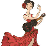 Flamenco dancer. Vector illustration. Flamenco dancer in a red dress Stock Photo